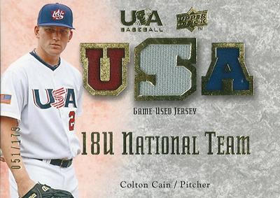 Colton Cain 2008/09 USA Baseball 18U National Team Jersey 179枚限定!(051/179) / コルトン ケイン