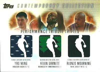 ヤオ ミン / ケビン ガーネット / アロンゾ モーニング NBAカード 2003/04 Topps Contemporary Collection Performance Tribute Triples 250枚限定!(122/250) / Yao Ming / Kevin Garnett / Alonzo Mourning