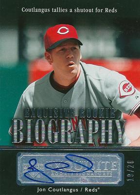 ジョン・コートラングス MLBカード Jon Coutlangus 2007 Exquisite Collection Rookie Signatures Biography 19/20
