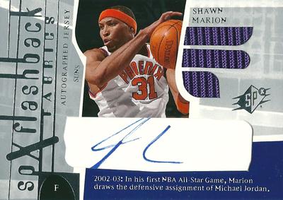 ショーン・マリオン NBAカード Shawn Marion 03/04 SPx Flashback Fabrics Autographs
