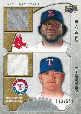 【デビット・オルティーズ】【ハンク・ブレイロック】 MLBカード David Ortiz / Hank Blalock 2009 UD Ballpark Collection Dual Swatch 193/500