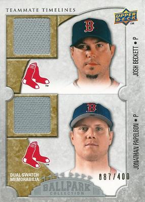 【ジョシュ・ベケット】【ジョナサン・パペルボン】 MLBカード Josh Beckett / Jonathan Papelbon 2009 UD Ballpark Collection Dual Swatch 087/400
