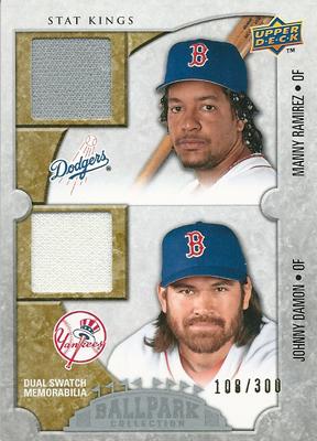 【マニー・ラミレス】【ジョニー・デーモン】 MLBカード Manny Ramirez / Johnny Damon 2009 UD Ballpark Collection Dual Swatch 108/300
