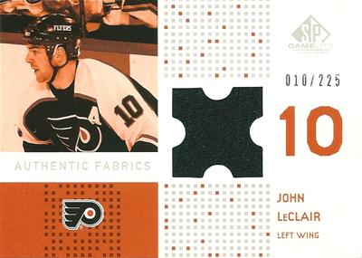 ジョン・ルクレア NHLカード John LeClair 2002/03 SP Game Used Authentic Fabrics 010/225 (ジャージナンバー!)