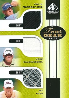 【コリン・モンゴメリー】【マーク・カルカベッキア】【ジェイ・ハース】 GOLFカード Colin Montgomerie / Mark Calcavecchia / Jay Haas 2012 SP Game Used Tour Gear Triple