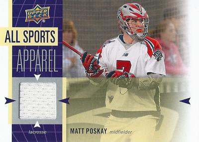 マット・ポスケイ ラクロスカード Matt Poskay 2011 UD World Sports All-Sport Apparel Memorabilia