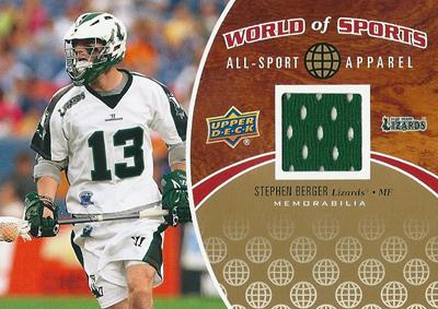 ステファン・バーガー ラクロスカード Stephen Berger 2010 Upper Deck World of Sports All-Sports Apparel Memorabilia
