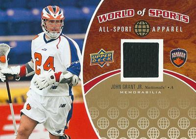 ジョン・グラント Jr ラクロスカード John Grant Jr 2010 Upper Deck World of Sports All-Sports Apparel Memorabilia