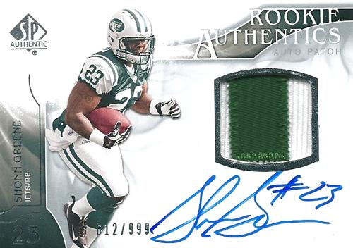 ション・グリーン NFLカード Shonn Greene 2009 SP Authentic Rookie Authentics Auto Patch 612/999
