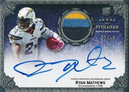 ライアン・マシューズ NFLカード Ryan Mathews 2010 Topps Five Star Rookie Patch Autographs 02/50