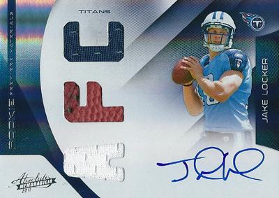 ジェイク・ロッカー NFLカード Jake Locker 2011 Absolute Memorabilia Rookie Premier Materials Autographs AFC 38/49