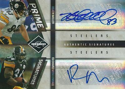ヒース・ミラー / ラシャード・メンデンホール NFLカード Heath Miller / Rashard Mendenhall  2010 Leaf Limited Prime Signatures Dual 5/5