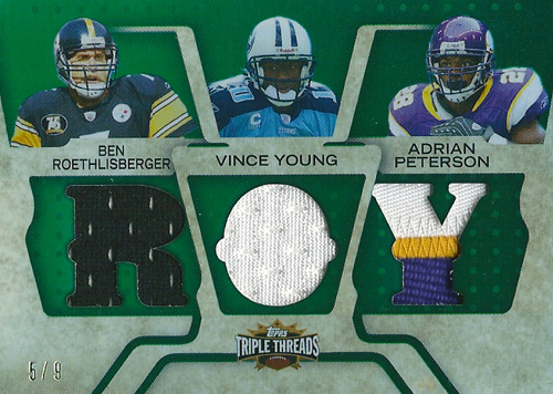 ベン・ロスリスバーガー / ヴィンス・ヤング / エイドリアン・ピーターソン NFLカード Ben Roethlisberger / Vince Young / Adrian Peterson 2008 Topps Triple Threads Triple Relics 5/9