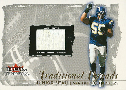 ジュニア・セアウ NFLカード Junior Seau 2000 Fleer Tradition Traditional Threads 49/55