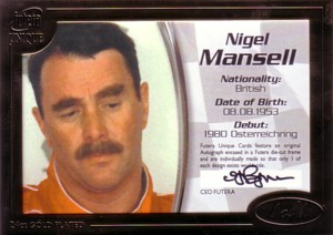 Nigel Mansell 2005 Futera Grand Prix 1of1 Autograph 1枚限定!