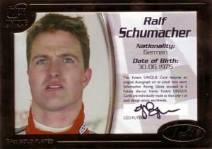 Ralf Schumacher 2005 Futera Grand Prix 1of1 Race Worn Racing Glove Autograph 1枚限定!