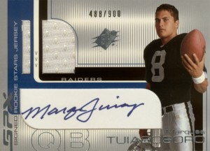 Marques Tuiasosopo 2001 SPx Signed Rookie Jersey 900枚限定!