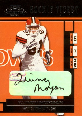 Quincy Morgan 2001 Playoff Contenders Rookie Ticket Autograph