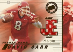 David Carr 2002 Press Pass JE Game Used Jersey 500枚限定!