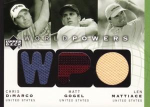 Chris DiMarco/Matt Gogel/Len Mattiace 2003 Upper Deck World Powers Triple Shirts