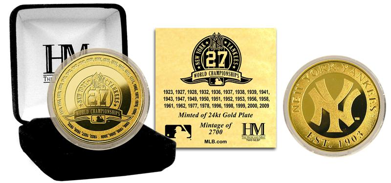 The Highland Mint (ハイランドミント) ニューヨーク・ヤンキース 27回 ワールドシリーズ優勝 ゴールドコイン (New York Yankees 27-TIME World Series Champs Gold Coin) ★4/28入荷!