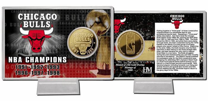 The Highland Mint (ハイランドミント) シカゴ・ブルズ チーム ヒストリー ゴールドコインカード (Chicago Bulls Team History 24KT Gold Coin Card)