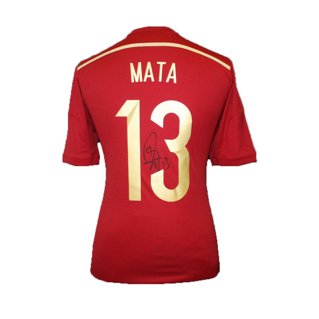 フアン・マタ 直筆サイン入りユニフォーム 2014 ワールドカップ スペイン代表 ホーム (Signed Spain World Cup 2014 Shirt) / Juan Mata