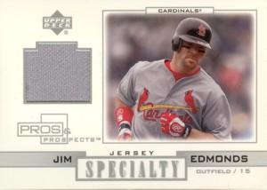 Jim Edmonds 2001 UD Pros & Prospects Specialty Jersey