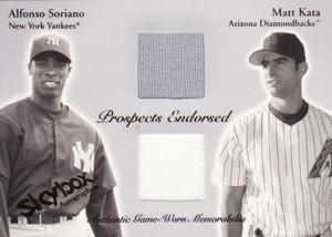 Alfonso Soriano/Matt Kata 2004 Skybox Autographics ProspectsEndorsed Dual Jersey 500枚限定!