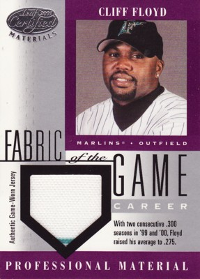 Cliff Floyd 2001 Leaf Certified Materials Fabric of the Game Jersey 275枚限定!
