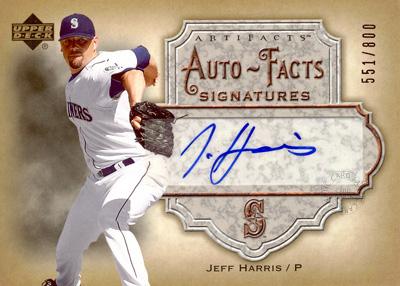 【ジェフ ハリス】 MLB 2006 UD Artifacts Auto-Facts Signatures 800枚限定!(551/800) / Jeff Harris