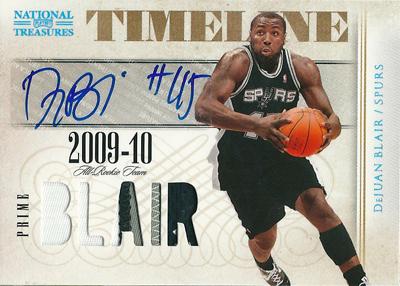 【デュワン ブレア】 2009/10 National Treasures Patch Auto 25枚限定!(16/25)/DeJuan Blair【NBA カード】