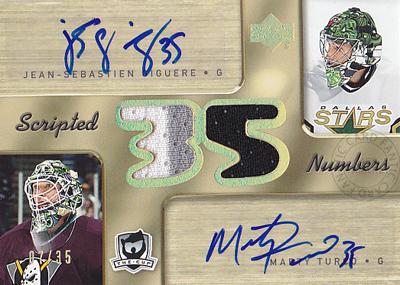 【ジャン セバスチャン ジゲール】【マーティー ターコ】2005/06 The Cup Scripted Numbers 35枚限定!(07/35)(Jean-Sebastien Giguer)(Marty Turco)(直筆サインカード)(NHL) (アイスホッケー)