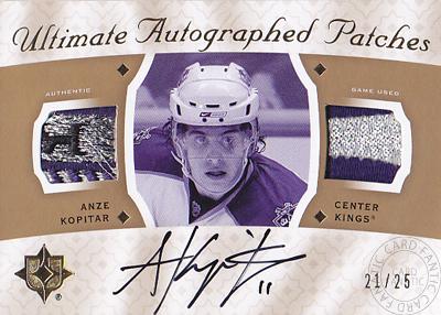 【アンゼ コピター】2008/09 Ultimate Collection Ultimate Patches Autographs 25枚限定!(21/25)(Anze Kopitar)(直筆サインカード)(NHL) (アイスホッケー)