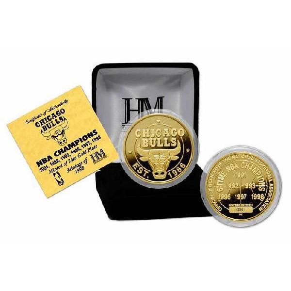 The Highland Mint (ハイランドミント) NBA シカゴ・ブルズ ゴールドコイン (Chicago Bulls 6 Time Champions 24KT Gold Coin Medallio)