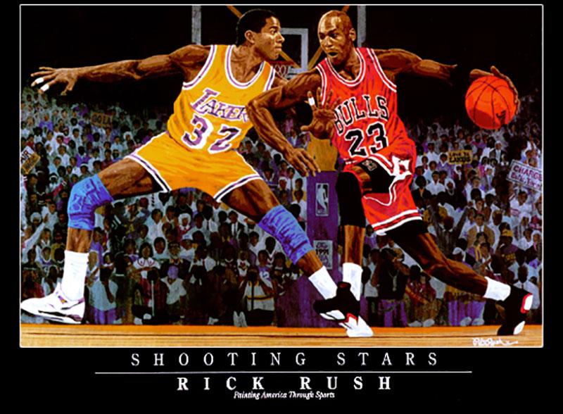 マイケル・ジョーダン / マジック・ジョンソン Shooting Stars Vignette Lithograph リトグラフ / Michael Jordan & Magic Johnson