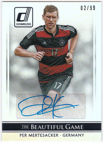 ペア・メルテザッカー 2015 Panini Donruss The Beautiful Game Signatures Auto Silver 02/99  直筆サインカード / Per Mertesacker