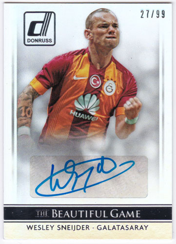 ヴェスレイ・スナイデル 2015 Panini Donruss The Beautiful Game Signatures Auto Silver 27/99 直筆サインカード / Wesley Sneijder