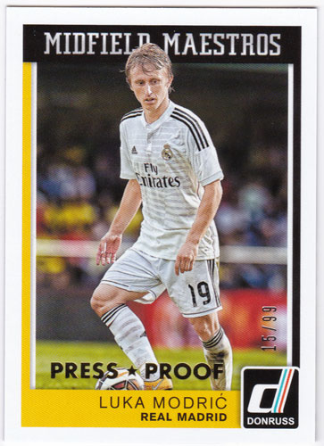 ルカ・モドリッチ 2015 Panini Donruss Midfield Maestros Gold Press Proof 15/99 Luka Modric