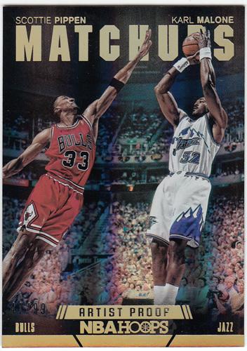 スコッティ・ピッペン / カール・マローン Scottie Pippen / Karl Malone 2014-15 Panini Hoops Matchups Artist's Proofs 41/99