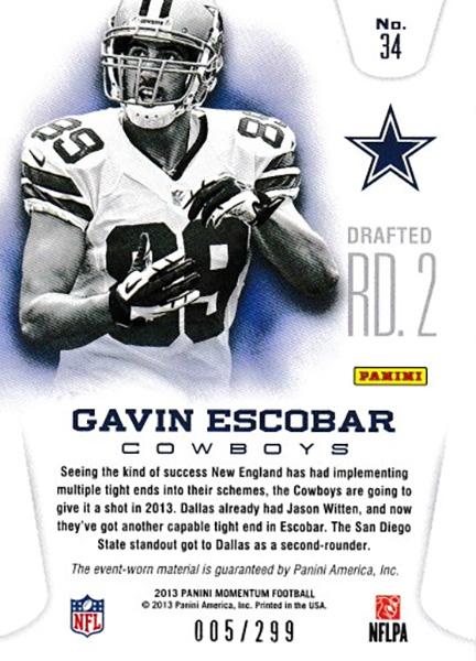 ギャビン・エスコバー 2013 Momentum Rookie Team Threads Triple Jersey 005/299 Gavin Escobar
