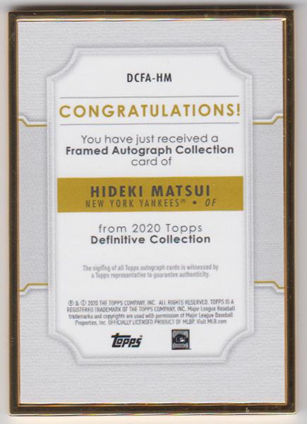 松井秀喜 MLBカード 2020 Topps Definitive Collection Framed Autograph Collection 20/30