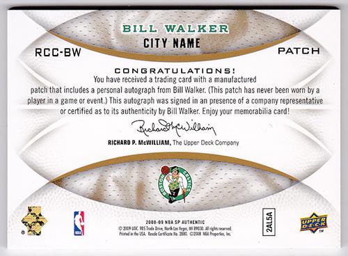 ビル・ウォーカー NBA 2008-09 SP Authentic Recruiting Class City Name RCC-BW (1/3) Bill Walker