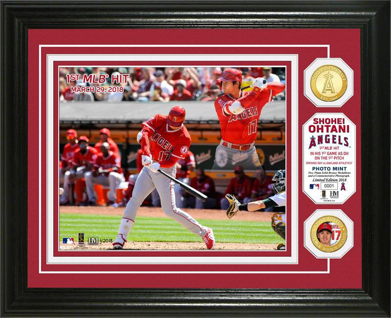 The Highland Mint (ハイランドミント) 大谷翔平 ロサンゼルス・エンゼルス MLB 初ヒットブロンズカラーコインフォトプラーク (Shohei Ohtani MLB 1st Hit Bronze Coin Photo Mint)