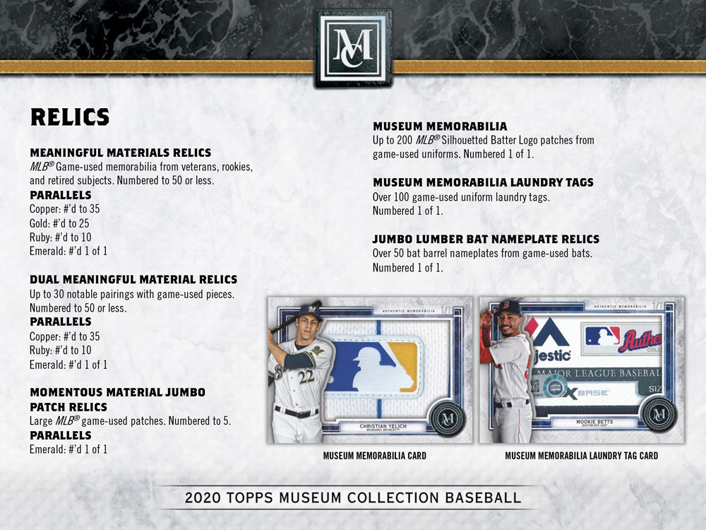 MLB 2020 Topps Museum Collection Baseball 7/29入荷!