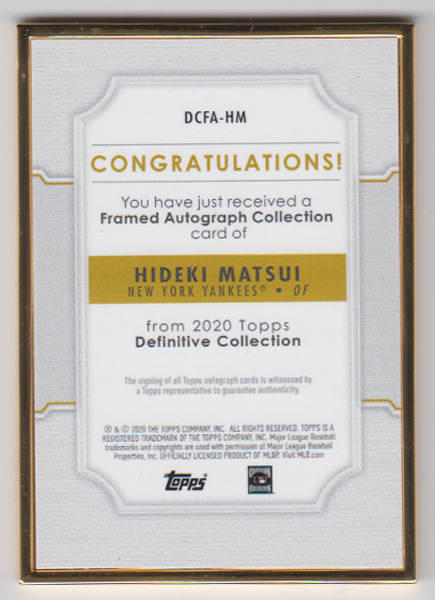 松井秀喜 MLBカード 2020 Topps Definitive Collection Framed Autograph Collection 22/30