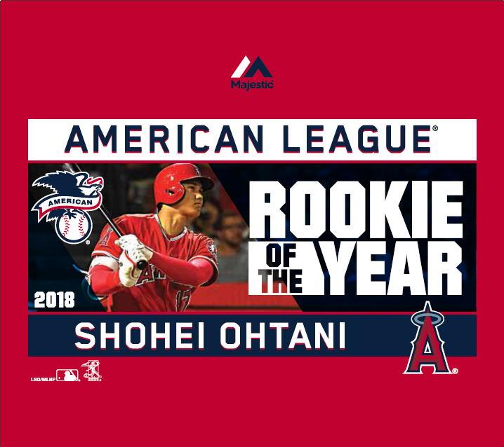 大谷翔平 ルーキー・オブ・ザ・イヤー Tシャツ #1 (エンゼルス/レッド) / Majestic Shohei Ohtani Rookie of the Year 送料無料