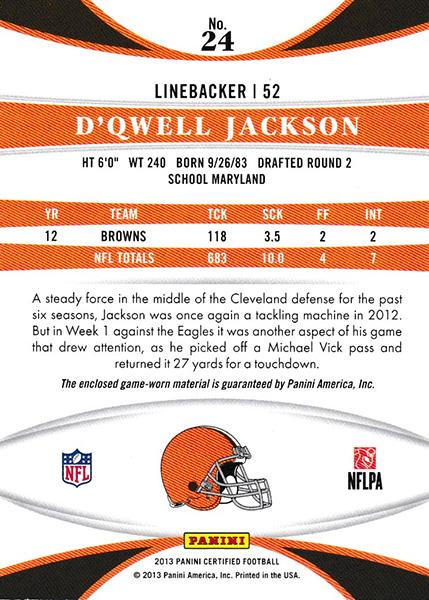 ドクウェル・ジャクソン 2013 Certified Mirror Red Jersey 068/299 D'Qwell Jackson