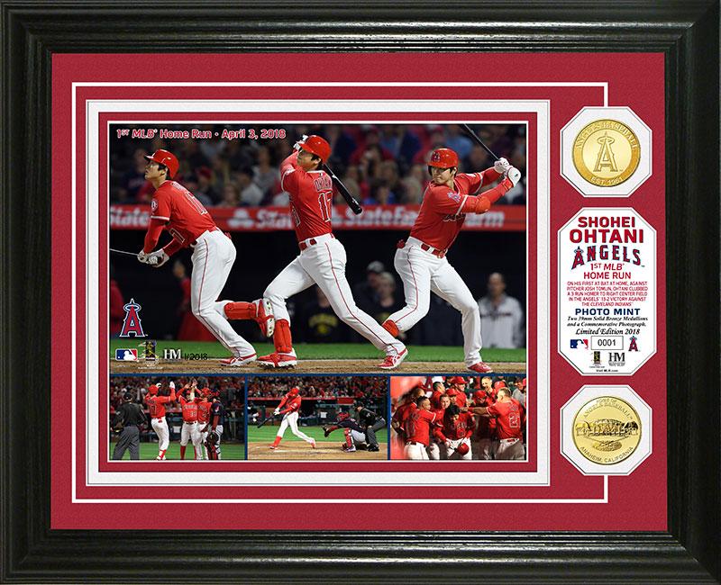 The Highland Mint (ハイランドミント) 大谷翔平 ロサンゼルス・エンゼルス MLB 初ホームランブロンズコインフォトプラーク (Shohei Ohtani 1st MLB HR Bronze Coin Photo Mint)