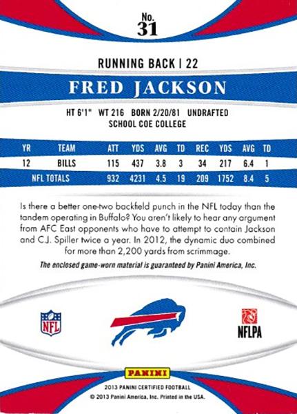 フレッド・ジャクソン 2013 Certified Mirror Red Jersey 197/299 Fred Jackson